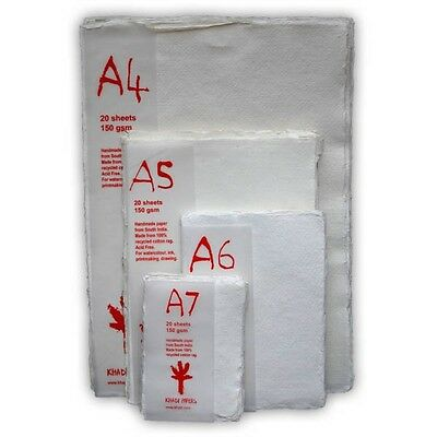 KHADI HANDMADE WHITE COTTON RAG PAPER PACKS - 3 Weights - 4 Sizes