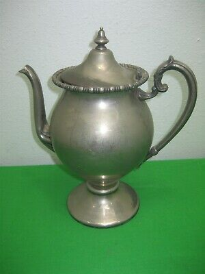 Antique Silver on Copper Metal Coffee Teapot Victorian Style