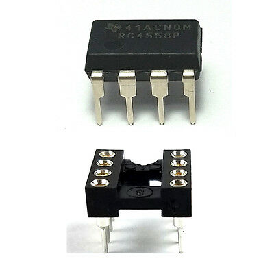 10PCS Texas Instruments RC4558 + Sockets Dual Operational Amplifier DIP-8 New IC