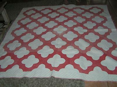 "VINTAGE QUILT 76"" x 74"" RED & WHITE BUTTERFLY VARIATION HAND STITCHED AMERICANA"