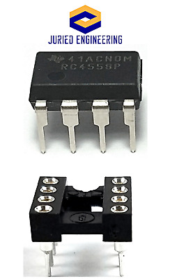5PCS Texas Instruments RC4558 + Sockets Dual Operational Amplifier DIP-8 New IC