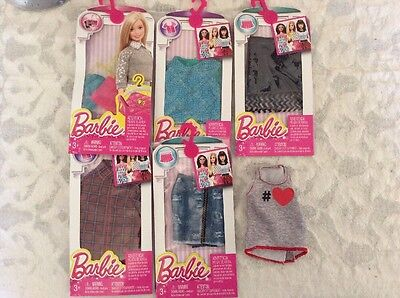 Barbie Clothes By Mattel BNIP X 5 Packets 1 Extra