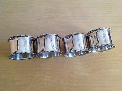 A Superb Set Of 4 Vintage Silver Plated Large Napkin Rings Bead Design