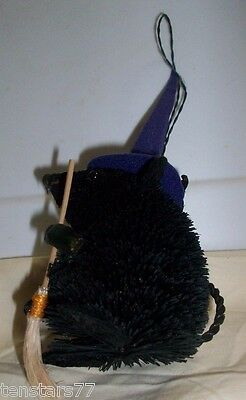 HALLOWEEN Natural BRISTLE BRUSH BURI Animal MOUSE WITCH Hat Broom ORNAMENT New