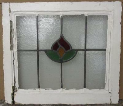 """OLD ENGLISH LEADED STAINED GLASS WINDOW Pretty Flower 20.75"""" x 18.25"""""""