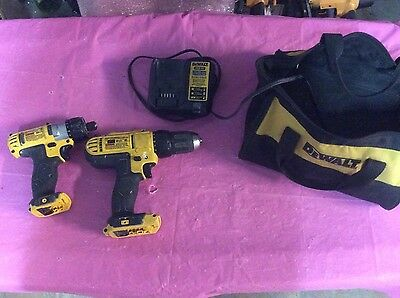 (2) Dewalt Compact Driver and Screwdriver DCF610 DCD771 and Bag