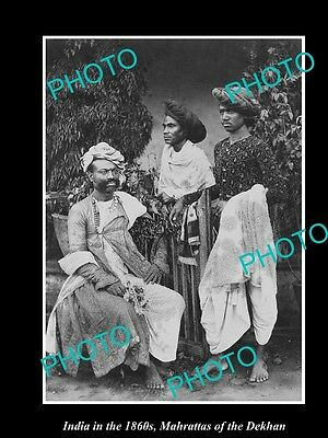 OLD LARGE HISTORIC PHOTO OF INDIA IN THE 1860s, MAHARATTAS OF THE DEKHAN