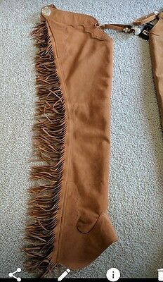 Hobby Horse Rust Ultrasuede Chaps Size Small Heart Conchos