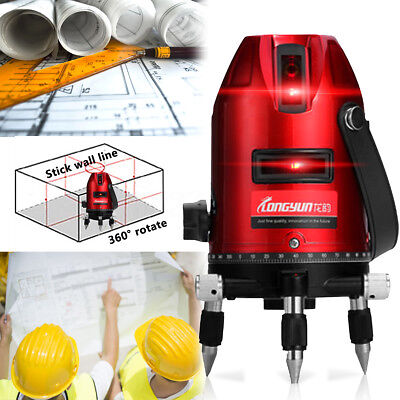 Automatic Self-Leveling 4V1H  5-Line 6-Point Rotary Laser Level Measure Kit Set