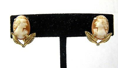 Vintage Cameo Earrings 12K Gold Filled Screw Back