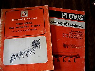 Vintage Allis Chalmers 3-8 Bottoms 2000 Series Plow Operator's Manual Lot Of 2