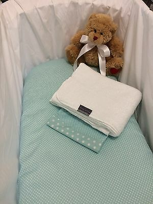 3 Piece Baby Bassinet Bed Set in Mint and white With white Blanket