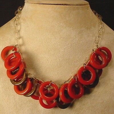 Vintage Bakelite Tested Cinnamon Brown CIRCLES Choker Necklace Celluloid Chain