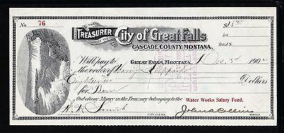1902 The Treasurer Of The City Of Great Falls - Great Falls Montana