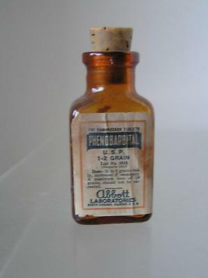 "Vintage Antique Bottle of Phenobarbital Abbott Laboratories Chicago IL 3"" empty"