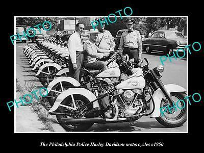 Old Large Historic Photo Of Philadelphia Police Harley Davidson Motorcycles 1950