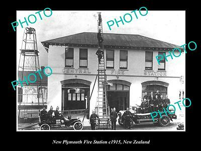 Old Large Historic Photo Of New Plymouth Fire Brigade Station, 1915 New Zealand