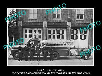 OLD LARGE HISTORIC PHOTO OF TWO RIVERS WISCONSIN, THE FIRE DEPARTMENT c1950 1
