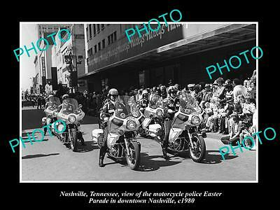 Old Large Historic Photo Of Nashville Tennessee, The Police Motorcycle Parade
