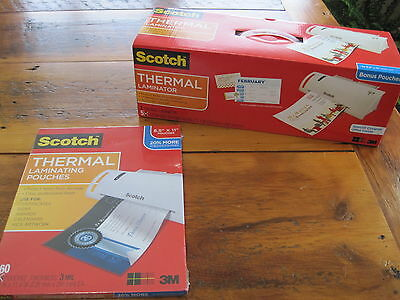 Scotch Thermal Laminator PLUS 60-Pack Laminating Pouches 3mil NEW!