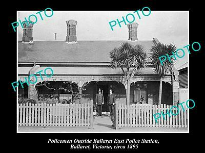 Old Large Historical Photo Of Police At The Ballarat East Station 1895, Victoria