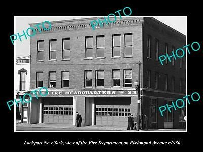 OLD LARGE HISTORIC PHOTO OF LOCKPORT NEW YORK, THE FIRE DEPARTMENT STATION c1950