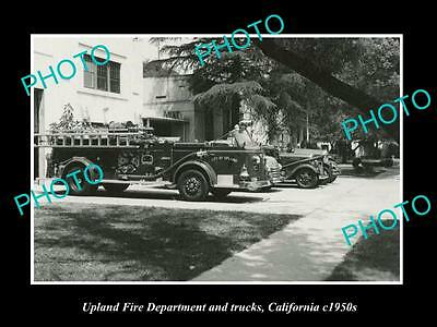 OLD LARGE HISTORIC PHOTO OF UPLAND CALIFORNIA, THE FIRE DEPARTMENT STATION c1950