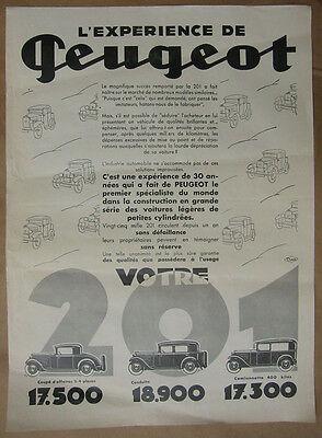 "Peugeot poster 1930's model 201 ""experience"""