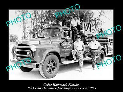 OLD LARGE HISTORIC PHOTO OF THE CEDAR HAMMOCK FIRE DEPARTMENT c1955 FLORIDA