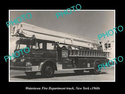 OLD LARGE HISTORIC PHOTO OF WATERTOWN FIRE DEPARTMENT TRUCK, NEW YORK c1960s