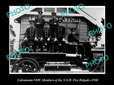 OLD LARGE HISTORIC PHOTO OF CABRAMATTA NSW, THE NSW FIRE BRIGADE TEAM c1930s