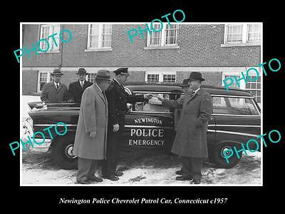Old Large Historic Photo Of Newington Connecticut, The Police Chevrolet Car 1957