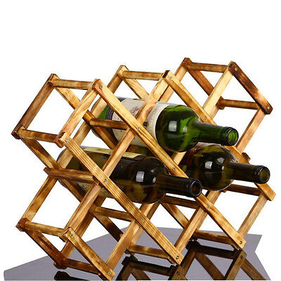 Wooden Foldable Red Wine Rack Stand Bottle Holder Shelf 10 Bottles Display Shelf