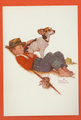 Norman Rockwell continental postcard/ boy sleeping with hand on his dog/fishing