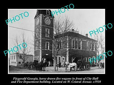 OLD LARGE HISTORIC PHOTO OF FITZGERALD GEORGIA, FIRE DEPARTMENT & STATION c1910