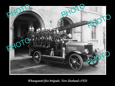 Old Large Historic Photo Of The Whanganui Fire Brigade Station, 1925 New Zealand