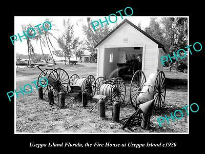 OLD LARGE HISTORIC PHOTO OF USEPPA ISLAND FLORIDA,THE FIRE HOUSE ON ISLAND c1920