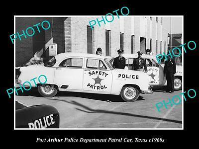 OLD LARGE HISTORIC PHOTO OF PORT ARTHUR TEXAS, THE POLICE & PATROL CARS c1960