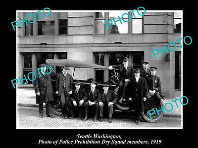 OLD LARGE HISTORIC PHOTO OF SEATTLE USA, POLICE PROHIBITION DRY SQUAD c1919