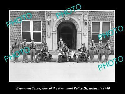 Old Large Historic Photo Of Beaumont Texas, The Beaumont Police Department 1940