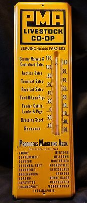 Vintage PMA Livestock Co-OP Thermometer Indiana Producers Marketing Advertising