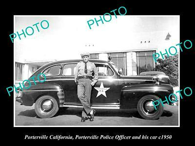 OLD LARGE HISTORIC PHOTO OF PORTERVILLE CALIFORNIA, POLICE PATROL CAR c1950