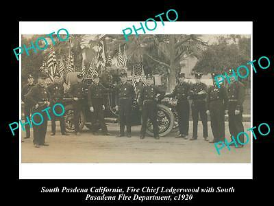 OLD LARGE HISTORIC PHOTO OF SOUTH PASADENA CALIFORNIA, THE FIRE DEPARTMENT c1920