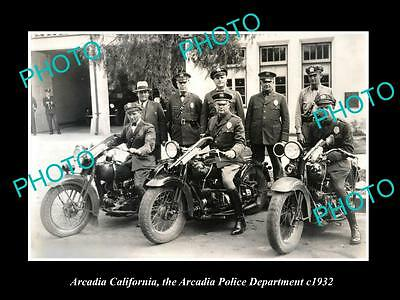 OLD LARGE HISTORIC PHOTO OF ARCADIA CALIFORNIA, POLICE MOTORCYCLE UNIT c1932