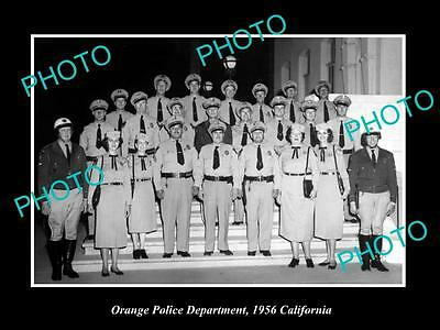 Old Large Historic Photo Of Orange California, Police Department Crew 1956