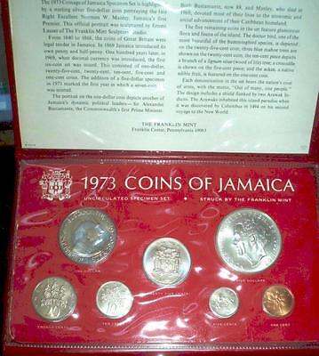1973 Jamaica Specimen Mint Set with SILVER in Original Mint Pack.Very nice set.