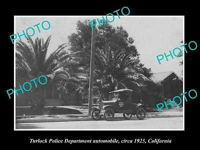 OLD LARGE HISTORIC PHOTO OF TURLOCK CALIFORNIA, POLICE DEPARTMENT CAR c1925