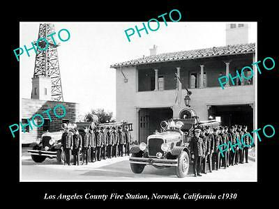 OLD LARGE HISTORIC PHOTO OF LOS ANGLES FIRE DEPARTMENT STATION, c1930 NORWALK