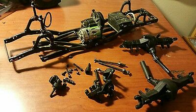 Axial SCX10 Slider Project Chassis Axles Trans 4ws Crawler Parts Lot