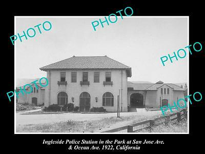 OLD LARGE HISTORIC PHOTO OF INGLESIDE CALIFORNIA, VIEW OF POLICE STATION c1922